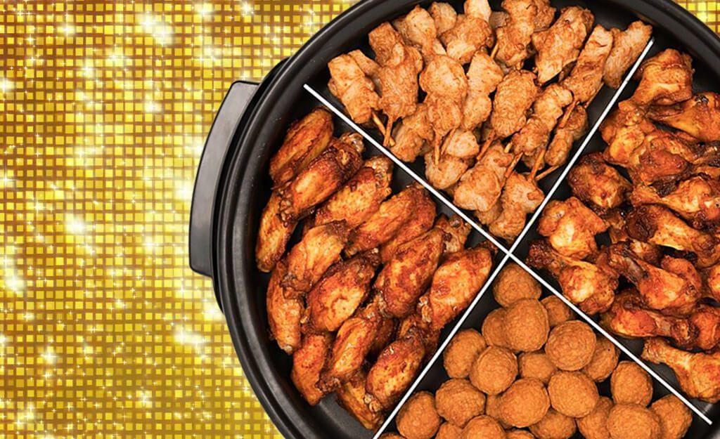Goedgevulde partypan met heerlijke kiphapjes